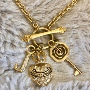 Juicy Couture Heart and Key Rhinestone Necklace.